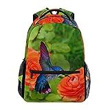 poiuytrew Mochila de colibrí y Rosas Rojas Bolsas de Hombro para Estudiantes Mochila de Viaje Mochilas Escolares