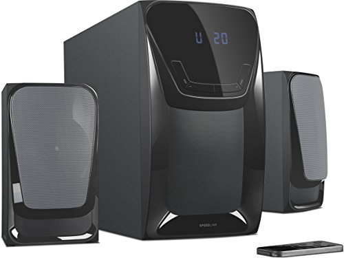 Speedlink Aktives 2.1 Subwoofer System - EUFONIA Stereo Lautsprechersystem 3,5mm (Exzellenter Multimedia-Klang - 50W RMS Ausgangleistung, 100W Peak Power - kabellose Infrarot-Fernbedienung) Computer / Laptop schwarz