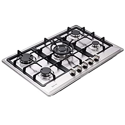 "Deli-kit DK257-A02 30"" LPG/NG Gas Cooktop Dual Fuel Sealed 5 Burners Drop-In Stainless Steel Gas Hob Gas Cooker Stove"