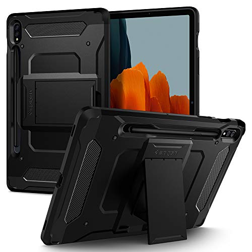 Spigen Tough Armor Pro Compatibile con Samsung Galaxy Tab S7 Cover Custodia con S Pen Holder (2020) - Nero