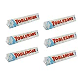 Toblerone Bar - Swiss White Chocolate with Honey & Almond Nougat Bar (Pack of 6 Bars Each 3.5 oz)