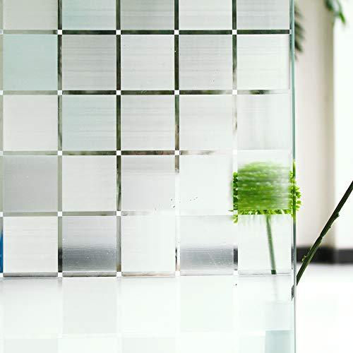 Tamia-Living milchglasfolie Fensterfolie Milchglas Duschkabinen Blickdicht Folie Fenster Selbstklebend Sichtschutzfolie Sichtschutz Statisch Haftend Glasdekor Quad Weiss L018 (60 * 150cm)