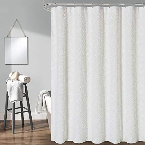 DOSLY IDÉES White Cotton Fabric Shower Curtain Set for Bathroom,Washable,Shabby Chic and Buffalo Plaid,Geometric,36x72 in