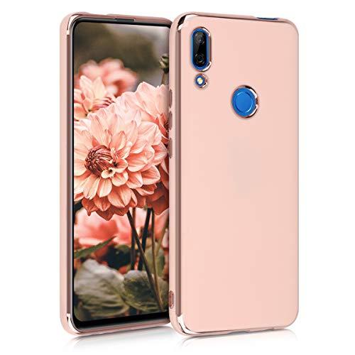 kwmobile Cover Compatibile con Huawei P Smart Z - Protezione Flessibile in Morbido Silicone TPU con Bordi Cromati - Oro Rosa