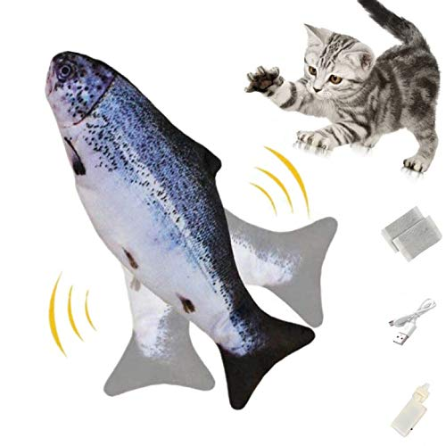 Zibnwee Electric Simulation Fish Cat, USB Electric Plush Fish Kicker Cat Toy with Catnip, Interactive Cat Toy for Gaming, Biting, Chewing and Pedal