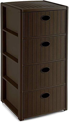 Mobile cassettiera carrello contenitore a torre con 4 ruote e 4 cassetti in plastica marrone effetto finto vimini rattan da bagno per camera cucina