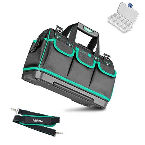 AIRAJ 47 * 27 * 31CM Multifunktions-Werkzeugtasche, Aufbewahrungstasche Mit Weitem Mund, Wasserdichte Werkzeugtasche, Geeignet Für Haushalt,Elektriker, Wartungspersonal,Tragbare Aufbewahrungstasche