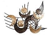 formano Colmore–Pared decoración de Metal Metal de Conchas Retro Nácar 78x 60cm, Metal, Beige, 78x60 cm