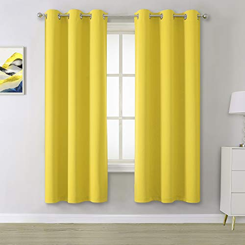 Bright Yellow Blackout Curtains for Living Room- Room Darkening Curtains for Bedroom Grommet Thermal Insulated Window Curtain Panels Illuminating Yellow (42 W x 63 L, 2 Panels)