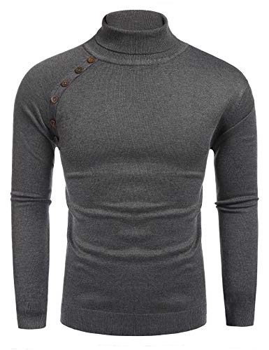 Coofandy Men's Casual Basic Knitted Turtleneck Slim Fit Pullover Thermal Sweaters Gray US M