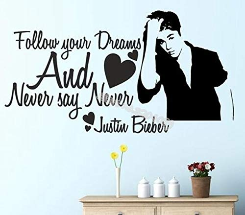 zqyjhkou Follow Your Dreams and Never say Never Quotes Wall Stickers Home Decor Music Enthusiast Girls Bedroom Removable Art Mural 78x42cm