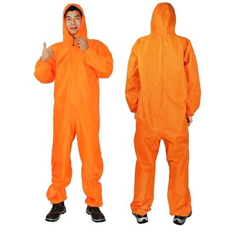 YUHANG Chubasquero para adultos, reutilizable, impermeable, traje de lluvia para mujeres y hombres, ropa de lluvia con capucha, elástico, para exterior, seguridad, chaqueta de trabajo (S, amarillo)