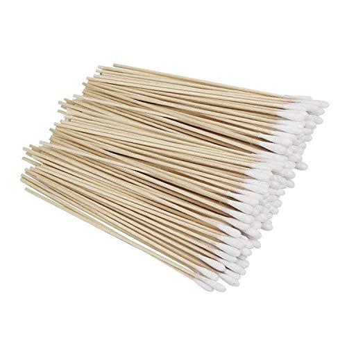 Wattestäbchen mit langem Holzgriff, 400 Stück, Wattestäbchen mit Holzgriffen, Reinigung mit einem Spitze, Kosmetik, Make-up-Entfernung, Wundpflege Wattestäbchen