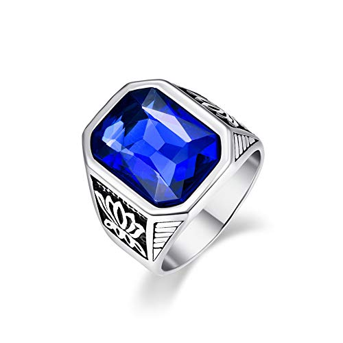 Vakki Ringe Herrenringe mit Blau Kristallglas Inlay Gothic Edelstahl Lotus Blumenmuster Eheringe Größe 62 (19.7)