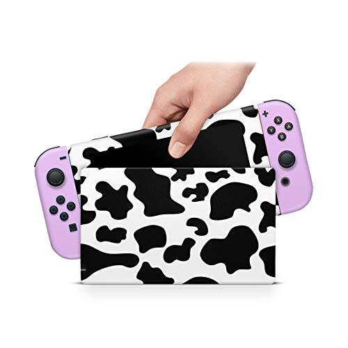46 North Design Switch Skin für Konsole und JoyCons, gleiche Abziehbildqualität für Autos, Niedliche Bestie Kuh Molkerei Moo Lila Schwarz Weiß, langlebig, blasenfrei, hergestellt in Kanada