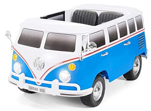 Actionbikes Motors Kinder Elektroauto VW Bus Bulli T1 Samba Camper - Lizenziert - 70 Watt Motor - 2 Personen (Weiß/Blau)