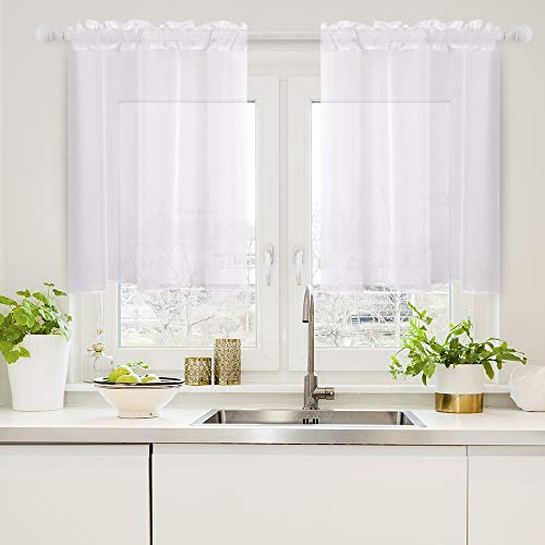 Woaboy Solid White Sheer Kitchen Curtains Soft Voile Sheer Panel Sheer Curtains Light Softening Sheers Curtain for Small Window 29W x 24L Inch White 2 Panels