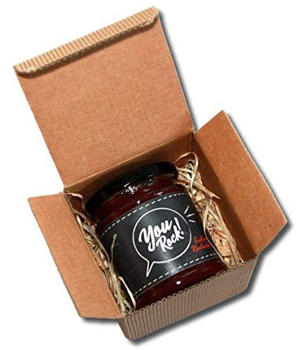 Mitarbeiter Wertschätzung Geschenke - You Rock Premium Erdbeer-Rhabarber Konfitüre (ohne Deckel-Deckchen, mit Geschenkbox)