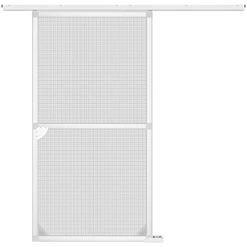 Fliegengitter Schiebetür PRO 120 x 240 cm, aus Aluminium - Insektenschutz Schiebe-Tür für Balkontür Terassentür - Moskitonetz Alurahmen Mückengitter Fliegenschutz (weiß)