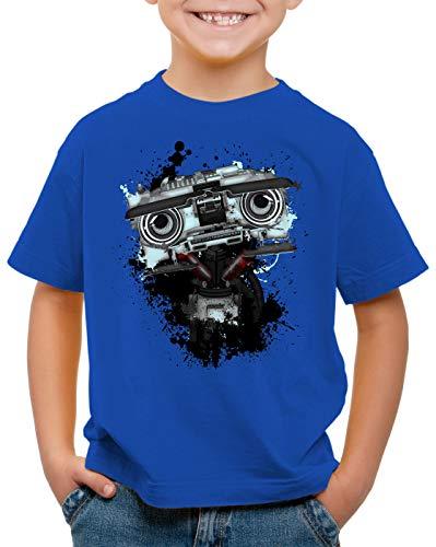style3 Nummer 5 T-Shirt für Kinder Johnny fünf Roboter Short Circuit, Farbe:Blau, Größe:128