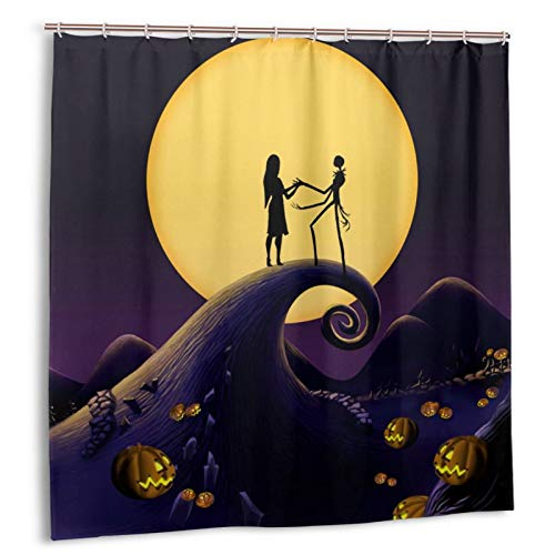 LMEROM Shower Curtain 72 x 72 inches Romantic Waterproof Bath CurtainSets Bathroom Happy Halloween Decor with Hooks