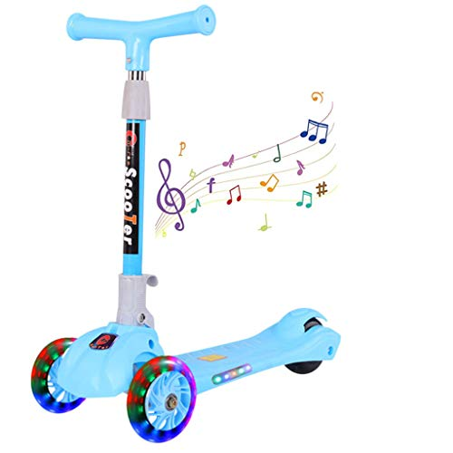 New 3 Wheels Foldable Music Kick Scooter for Kids and Toddlers Girls & Boys, Adjustable Height, Lear...