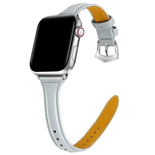 Correa de pulsera Correa de cuero para Apple Watch 42MM 38MM 44MM 40MM Correa para IWatch Series 5 4 3 2 1 Accesorios de correa de reloj-Gris lavanda, para 38 mm o 40 mm