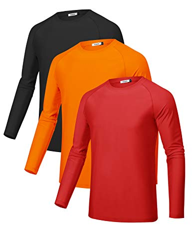 Sykooria 3 Pack Men's UPF 50+ Sun Protection Shirts Long Sleeve Outdoor Performance Quick-Dry T-Shirt Lightweight Shirts Fishing Cycling Running