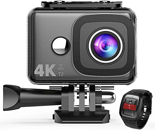 Visit the TENKER 4K Action Camera, WiFi 12MP Waterproof Sport Camera 170 Degree Wide View Angle 2.4G Remote Control 2 Rechargeable Underwater Cam Batteries and Kit of Accessories on Amazon.