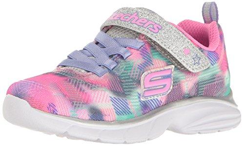 Skechers Kids Girls' Spirit Sprintz-Rainbow Raz Sneaker,Silver/Multi, 1 M US Little Kid