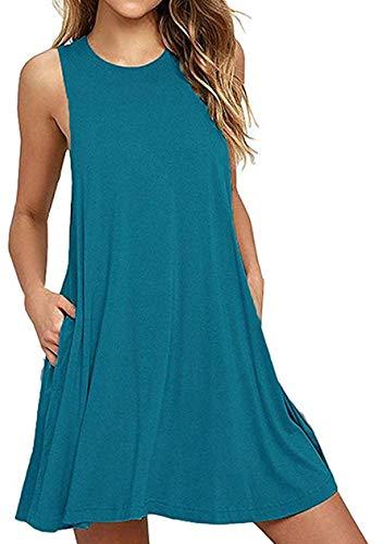 OMZIN Mujer Vestido de Ocio Especialmente Fiesta Vestido Largo Cuello Redondo Corte Ajustado Vestido Informal Azul Pavo Real XXXL