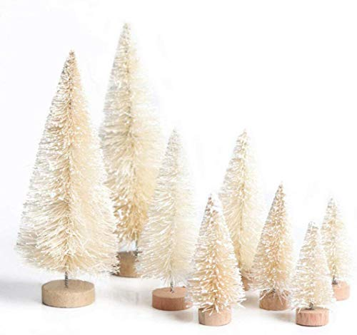 U-House Artificial Christmas Tree 8pcs Mini Pine Tree with Snow Frost Wood Base Home Party Table Top Decor Christmas Ornaments DIY Craft (Beige)