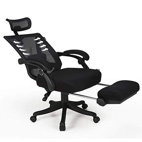 Hbada Reclining Office Desk Chair | Adjustable High Back Ergonomic Mesh Computer Recliner | Home Office Chairs with Footrest and Lumbar Support, Black