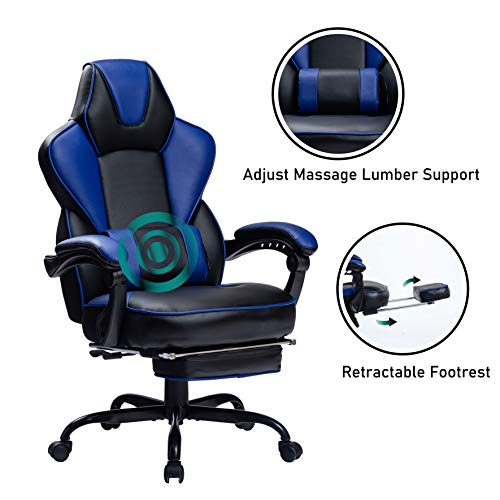 HEALGEN Reclining Gaming Chair with Large Lumbar Support Cushion Racing...