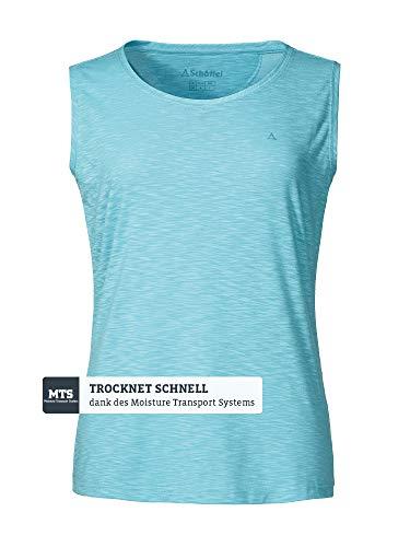Schöffel Damtopp namn2 tunn och lätt funktionell skjorta för kvinnor, elastisk och ventilerande damskjorta med solskyddsfaktor Ängelblå 44