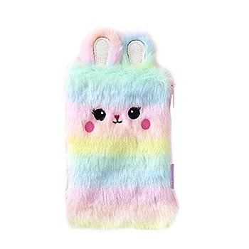 Chris.W Kawaii Plush Rabbit Bunny Pencil Case Pen Bag Makeup Pouch Coin Purse Storage Stuffed Animal Bag for Easter Party Favors Supplies  Rainbow Color