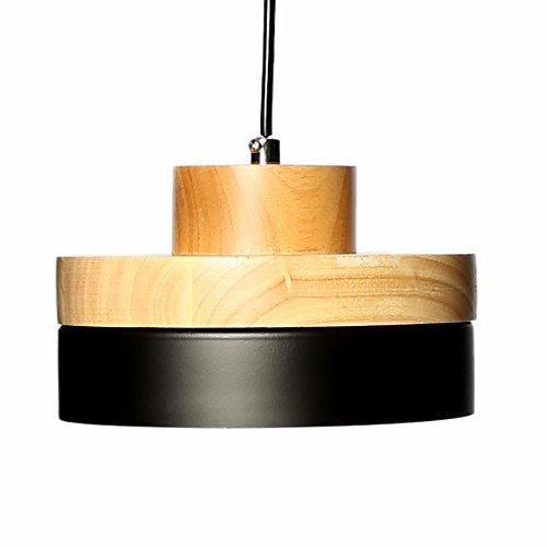 E27 Métal Moderne Suspensions Luminaires Industriel Retro Plafonnier Luminaire Lumiere Metal et Bois Luminaire éclairage Vintage Plafonnier Lustre Lampe (Noire)