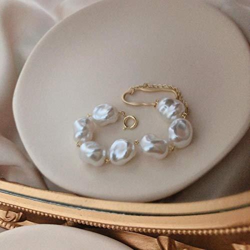 Pulsera barroca de Perlas de imitación Irregulares, Pulseras con dijes con borlas de Oro y Metal para Mujer, Accesorios de joyería para Fiestas