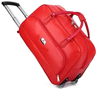 PU Travel Trolley Bags Wheeled Suitcase for Luggage Bags Travel Bag Wheels Suitcase Rolling Travel Bag On Wheels with Handbag (Color : Red)