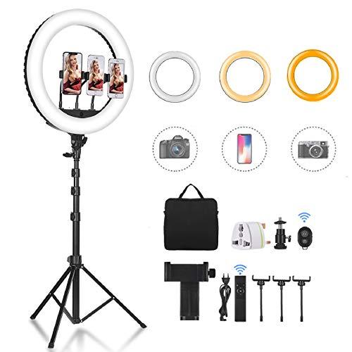 CXYP Caméra Photo Vidéo Eclairage Kit : 18 Pouces 55W 6000K Réglable LED Lumière Anneau avec 63'' Trépied, Ring Light Récepteur Bluetooth pour Smartphone, Youtube, TikTok Self-Portrait Vidéo Tournage
