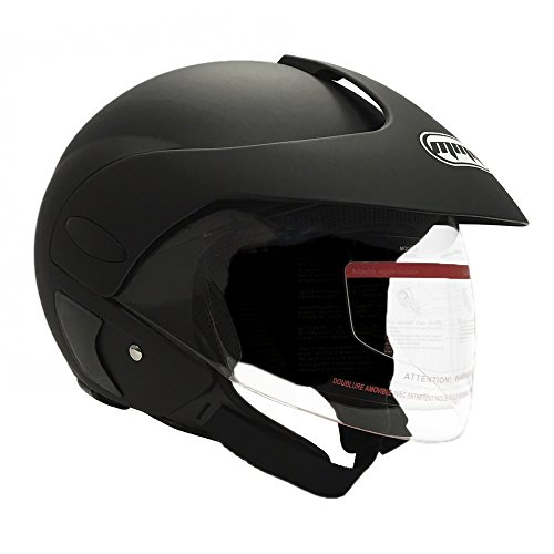 MMG Motorcycle Open Face Helmet DOT Street Legal - Flip Up Clear Visor - DOT and FMVSS218 Certified - Matte Black 203 - XL