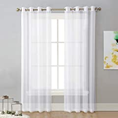 "READY MADE: 2 panels sheer curtains per package. Each panel is 54"" wide and 84"" long when hanging as a flat. One of the grommets' inner diameter is 1.6"". Purchase curtain whose width is 1.5-2 times wider than your window will form a nice look. MULTIF..."