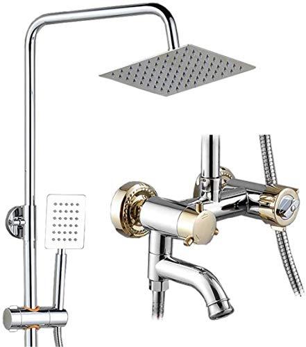 Aohi Juego de ducha termostático anti-escaldado Grifo de ducha de cobre Booster Top Spray Lift Sistema de ducha Silver Gold 3 tipos de puestos Juego de baño de ducha delicado