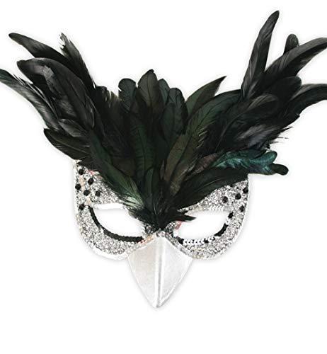 Vogelmaske Federn, Karneval, Fasching, Mottoparty (Silber)