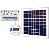 ACOPOWER 15W 12V Charger Kit, 15 Watts Polycrystalline Solar Panel with 10A PWM Charge Controller