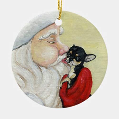 Weihnachtsschmuck, runder Weihnachtsmann-Kuss für Chihuahua, Kunst-Ornament, Weihnachtsgeschenk, Weihnachtsgeschenk, Weihnachtsgeschenk, Weihnachtsstrumpf, Geschenk