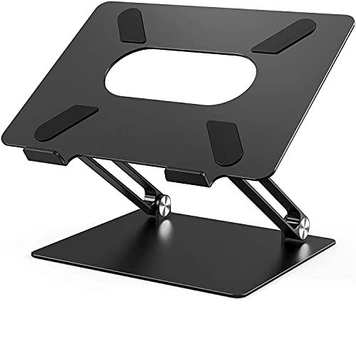 POVO Soporte de Portátil, Ajustable Aluminio Soporte para Laptop Portátil Soporte Ordenadores para Todos Los Portátiles 11-17 Pulgadas (Negro)
