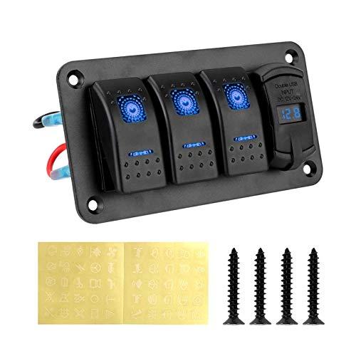 HCO-YU 3 Panel de interruptores de pandillas 4.2A Cargador de ranura USB dual DIGITAL VOLTMETER Circuito 12V-24V para automóvil Suv Marine RV Camión Kits de cableado Panel de interruptor de rockero im