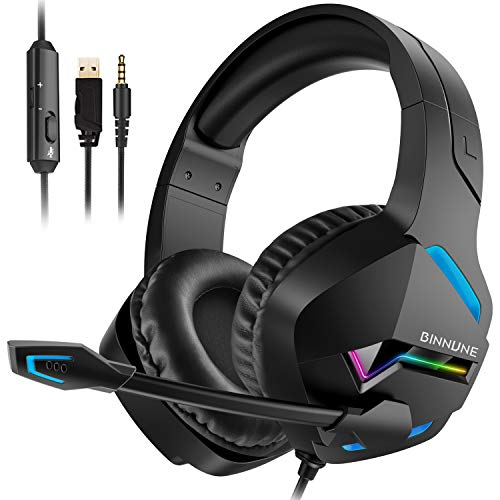 BINNUNE Gaming Headset with Microphone for PS4 PS5 Xbox One Series X S Playstation 4 5 Gamer Mic