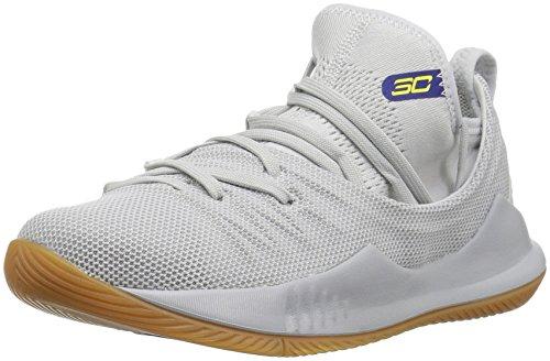 Under Armour Boy's Pre School Curry 5 Basketball Shoe, Elemental (105)/Overcast Gray, 2